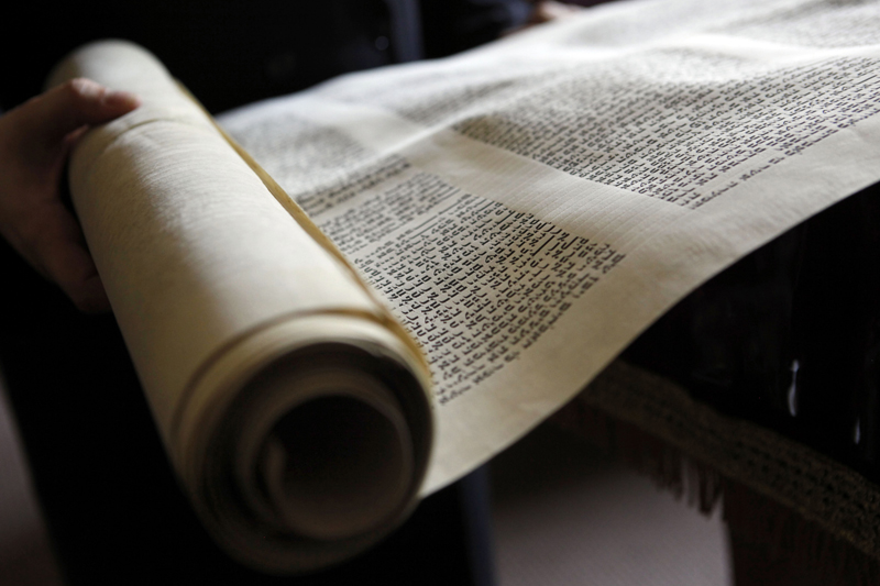 The Torah scroll that Dr. Isador Lieberman plans to deliver to a Jewish congregation in Uganda is pictured June 29, 2011, in Dallas, Texas. (Lara Solt/Dallas Morning News/MCT)