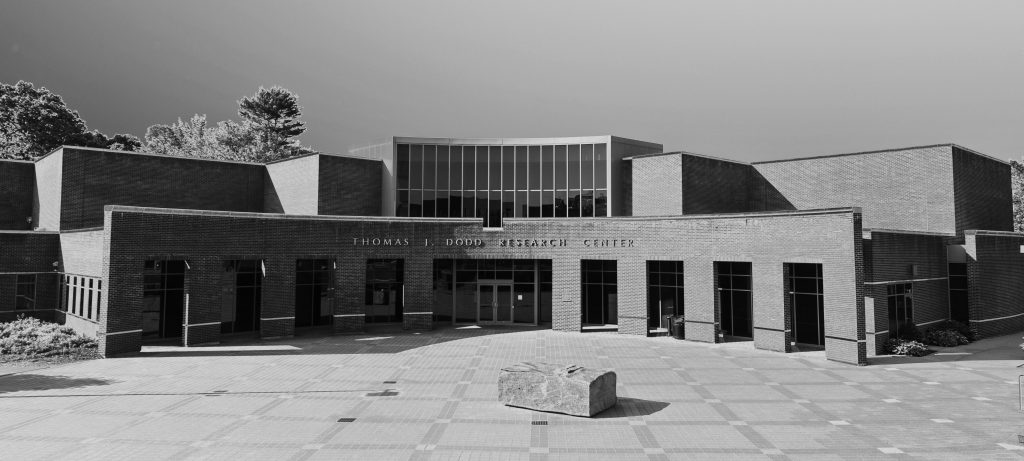 An exterior view of the Thomas J. Dodd Research Center on June 21, 2013. (Peter Morenus/UConn Photo)